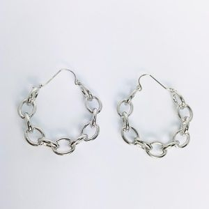 New! Silver Chain Linked Hoop Earrings